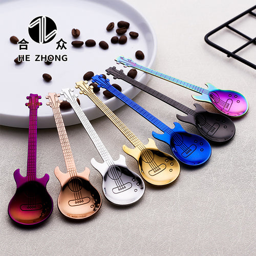 JUST PAY SHIPPING ! Stainless Steel Guitar Shaped Coffee Teaspoon in 7 beautiful colors