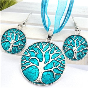 Vintage Round Life Tree Silver Pendant Leather Choker Necklace Costume Jewelry Set