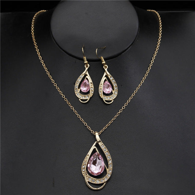 Fashion Pendants Necklaces Earrings sets Gold rhinestone crystal