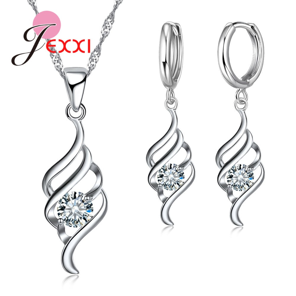JEXXI Stylish 925 Stering Silver Sets Crystal Spiral Jewelry