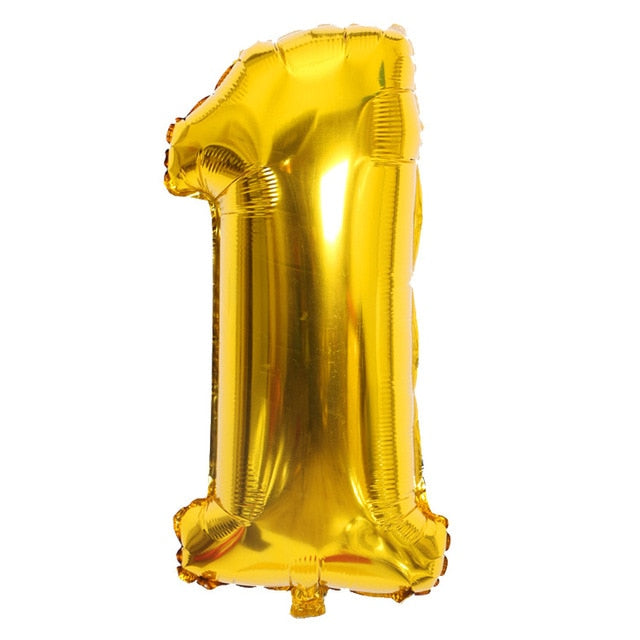 Gold Sliver 32 inch  0-9  Large Helium Digital Air Ballons Foil
