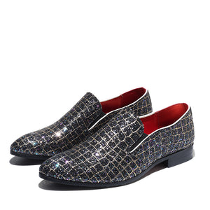 M-anxiu Fashion Grids Pattern Leather Loafers Shining Sequins