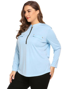 a36c987d76ea1 IN VOLAND Big Size XL-5XL Women Blouse Blusas Tops Spring Autumn Stand  Collar Long Sleeve Zip-up Large Pullovers Plus Size