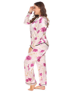 af6ca16e2b IN VOLAND Large Size Women Pajama Set L-4XL Satin Sleepwear Lounge Nightwear  Stand Color Long Sleeve Floral Top Pants Plus Size