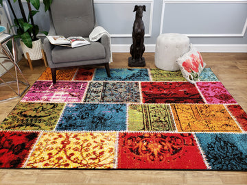 Cabana Patchwork Bright Colorful Boho Bohemian Area Rug Durable Frieze Yarn