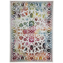 Cabana Bright Heaven Floral Colorful Boho Bohemian Area Rug Durable Frieze Yarn
