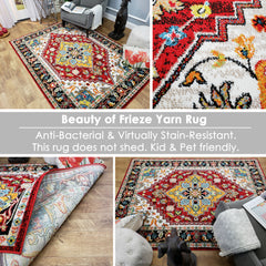 Cabana Dolce Colorful Boho Bohemian Area Rug Durable Frieze Yarn