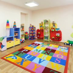 colorful alphabet letters theme educational playroom rugs for kids boys and girls