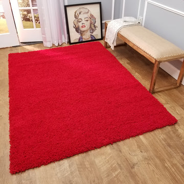 Cozy Optimum Quality 1.6 inch think Solid Red Shag Area Rug