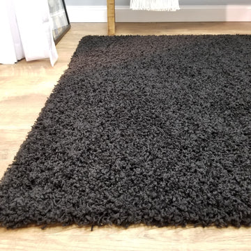 Cozy Optimum Quality 1.6 inch think Solid Black Shag Area Rug