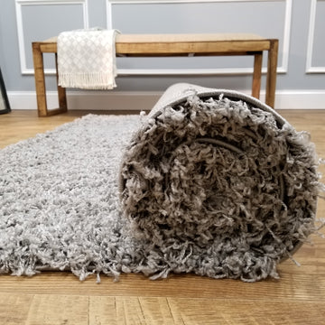 Cozy Optimum Quality 1.6 inch think Solid Gray Shag Area Rug