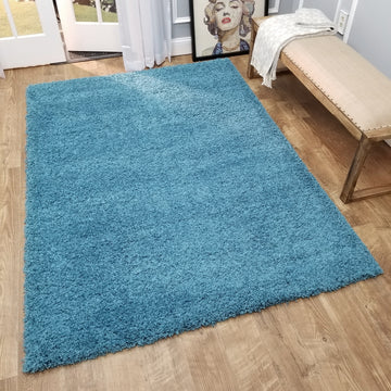 Cozy Optimum Quality 1.6 inch think Solid Turquoise Shag Area Rug