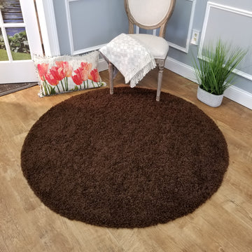 Cozy Optimum Quality 1.6 inch think Solid Brown Shag Area Rug