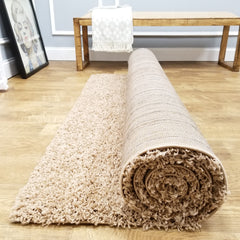 Cozy Optimum Quality 1.6 inch think Solid Beige Shag Area Rug