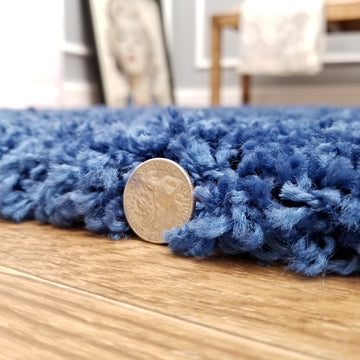 Cozy Optimum Quality 1.6 inch think Solid Navy Blue Shag Area Rug