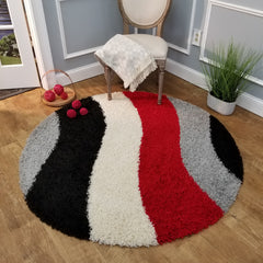 Cozy Optimum Quality 1.6 inch thick Striped Black Red Geometric Shag Area Rug