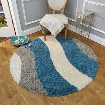 Cozy Optimum Quality 1.6 inch thick Striped Turquoise Blue Gray Geometric Shag Area Rug