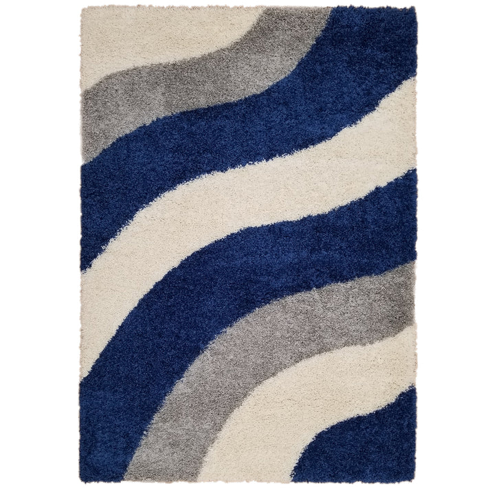 Cozy Optimum Quality 1.6 inch thick Striped Navy Blue Gray Geometric Shag Area Rug