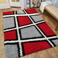 Cozy Optimum Quality 1.6 inch thick Boxes Gray Red Geometric Shag Area Rug