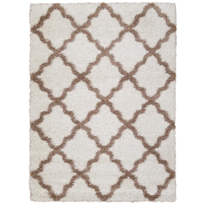 Cozy Optimum Quality 1.6 inch thick Trellis Ivory Shag Area Rug