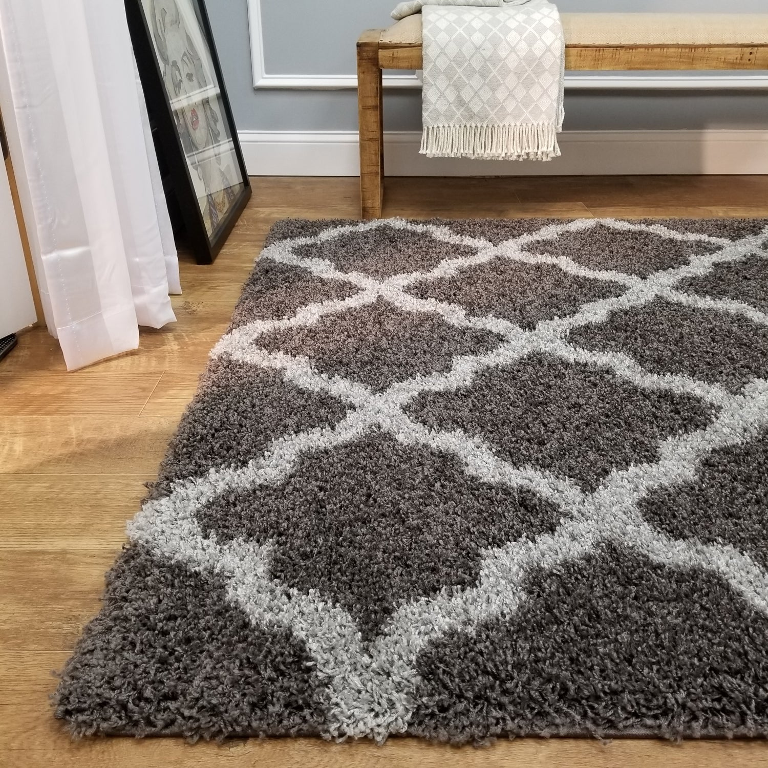 Cozy Optimum Quality 1.6 inch thick Trellis Dark Gray Shag Area Rug