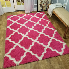 Cozy Optimum Quality 1.6 inch thick Trellis Pink Shag Area Rug