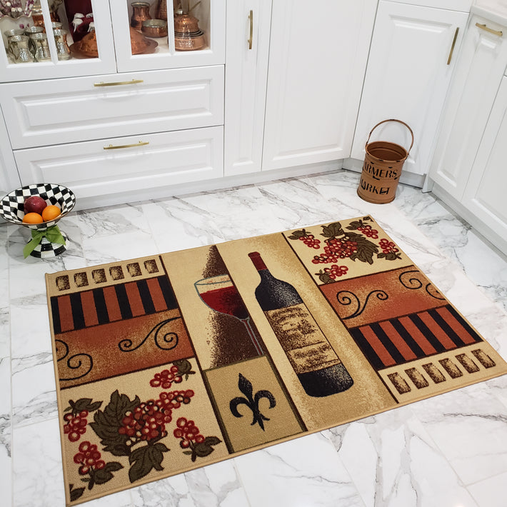 Cucina Kitchen Rugs and Mats Grape & Wine Theme