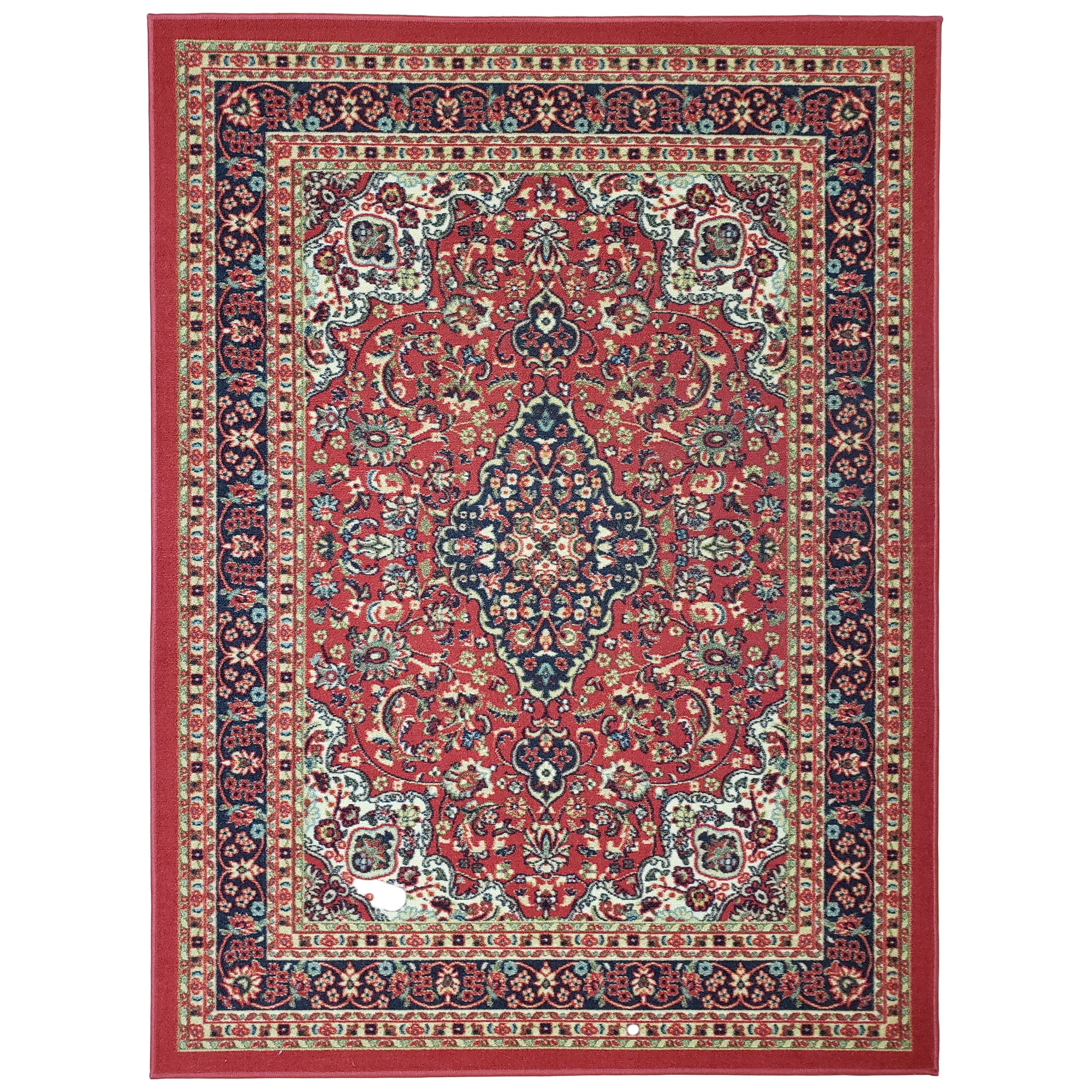 Belgio Rubber Backed Non Slip Rugs and Runners Red Persian Medallion