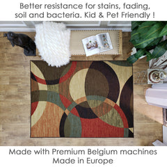 Belgio Rubber Backed Non Slip Rugs and Runners Abstract Circles