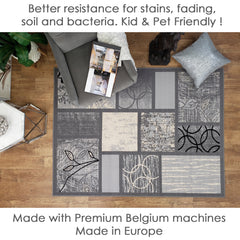 Belgio Rubber Backed Non Slip Rugs and Runners Gray Boxes