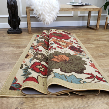 Belgio Rubber Backed Non Slip Rugs and Runners Floral