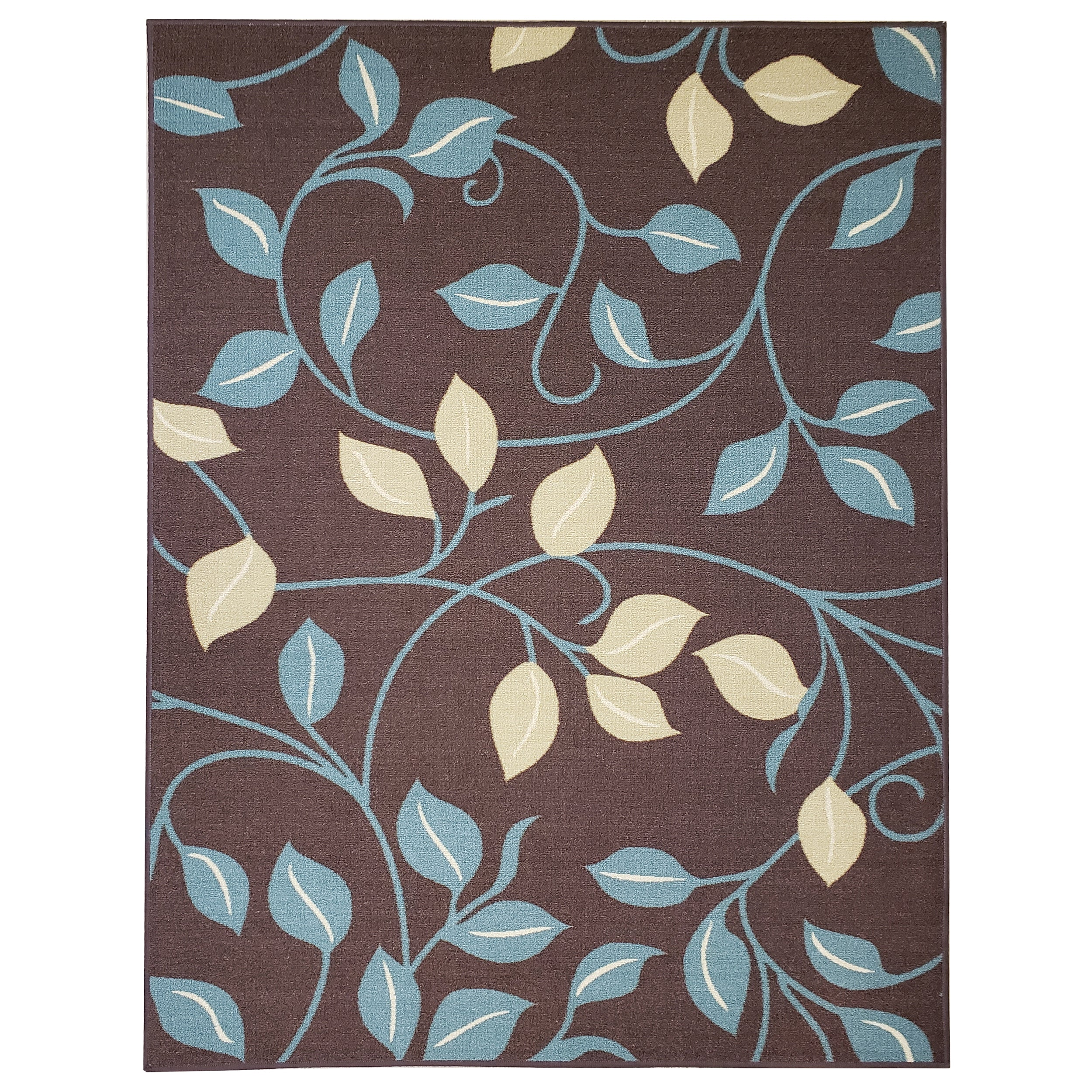 Belgio Rubber Backed Non Slip Rugs and Runners Brown Leaves