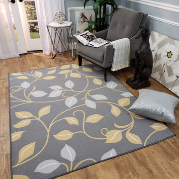 Belgio Rubber Backed Non Slip Rugs and Runners Gray Leaves