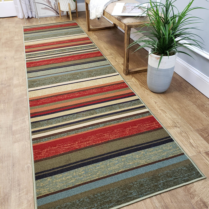 Multi Colored Stripes Custom Cut Size Runner