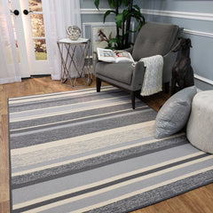 Belgio Rubber Backed Non Slip Rugs and Runners Gray Striped