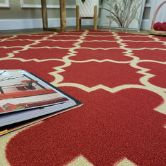 Belgio Rubber Backed Non Slip Rugs and Runners Red Trellis
