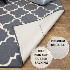 Belgio Rubber Backed Non Slip Rugs and Runners Gray Trellis