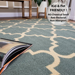 Belgio Rubber Backed Non Slip Rugs and Runners Sage Green Trellis