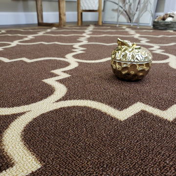 Belgio Rubber Backed Non Slip Rugs and Runners Brown Trellis