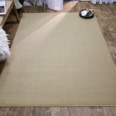 Belgio Rubber Backed Non Slip Rugs and Runners Solid Wheat Beige