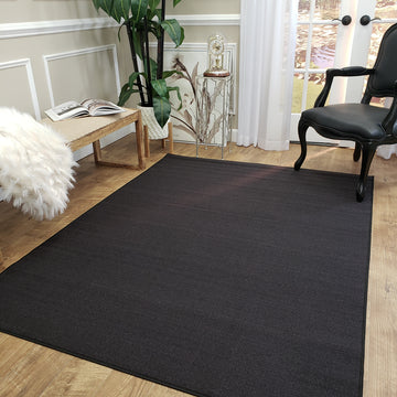 Belgio Rubber Backed Non Slip Rugs and Runners Solid Charcoal Black