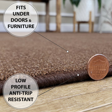 Belgio Rubber Backed Non Slip Rugs and Runners Solid Brown