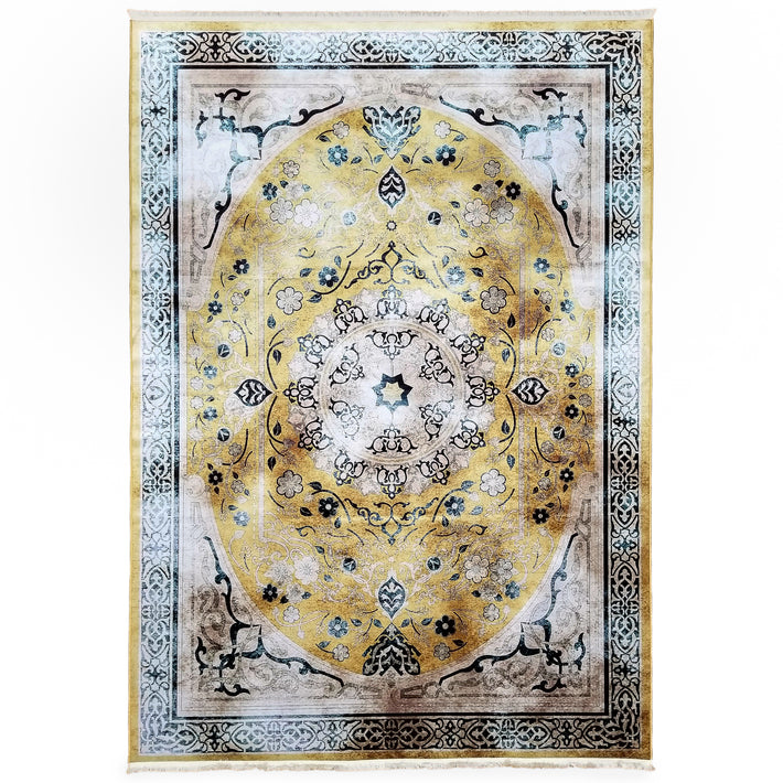 One of a Kind - Museum Quality Rug Traditional Yellow Medallion