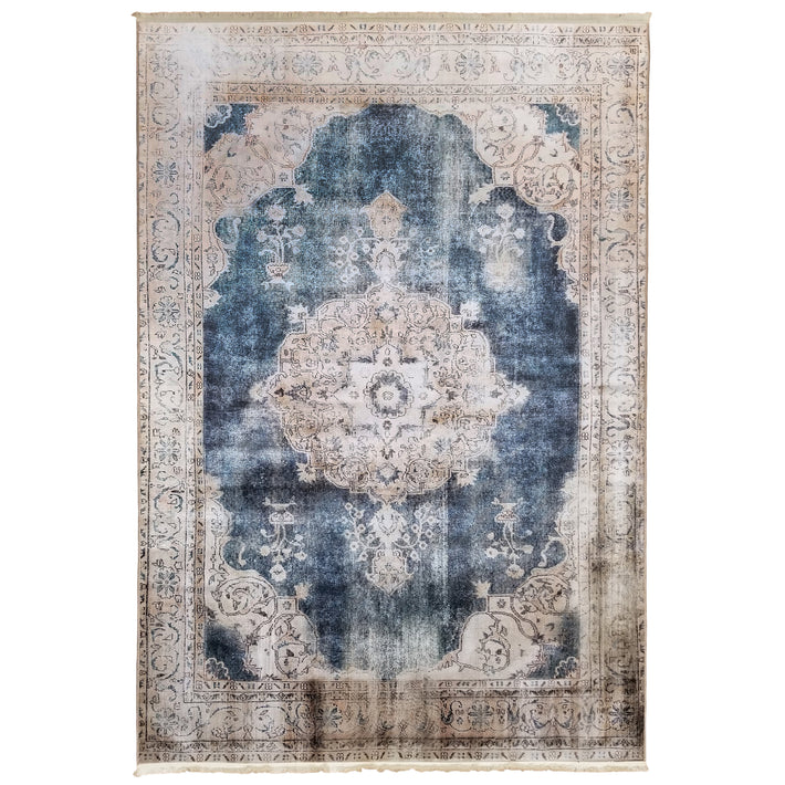One of a Kind - Museum Quality Rug Traditional Vintage Blue Medallion