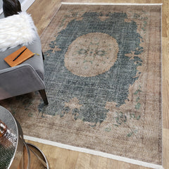 One of a Kind - Museum Quality Rug Traditional Vintage Sage Green Medallion
