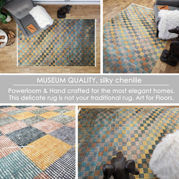 One of a Kind - Museum Quality Rug Modern Vintage Multi Colored Checkered