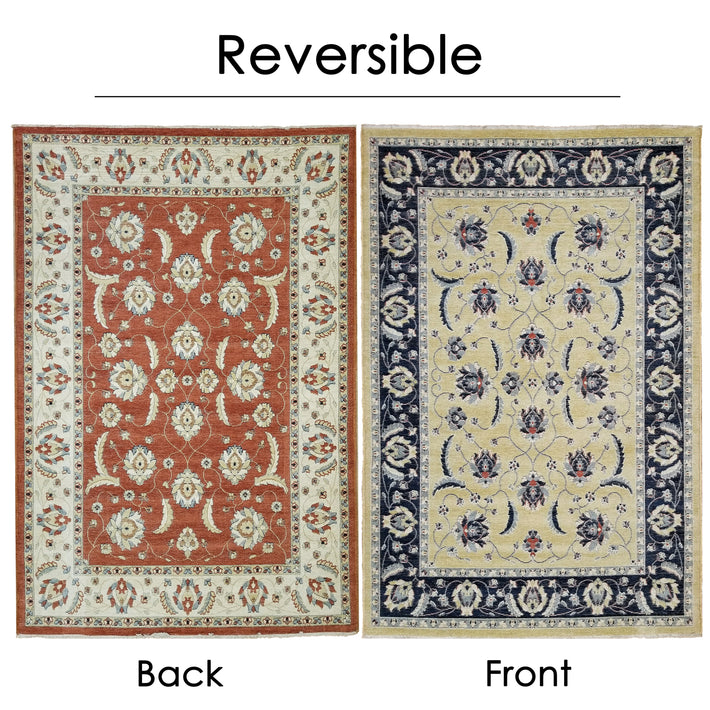 Reversible Hand Made Very Soft Chenille Yarn Antique Oriental Mahal Persian Area Rug 5'3'' x 7'3'' - 5X8 Area