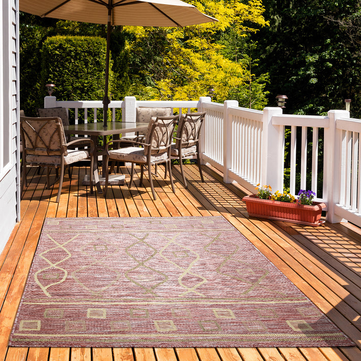 Sunshine Outdoor Rug and Runner, Sunlight Fade All-Weather Resistant Durable, Perfect for Patio, Deck, Beach, Camping, Backyard, BBQ Area, Cherrywood Brown Diamond