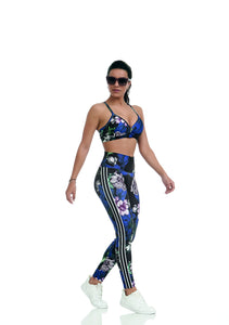 Legging Print Moving Dark Flowers