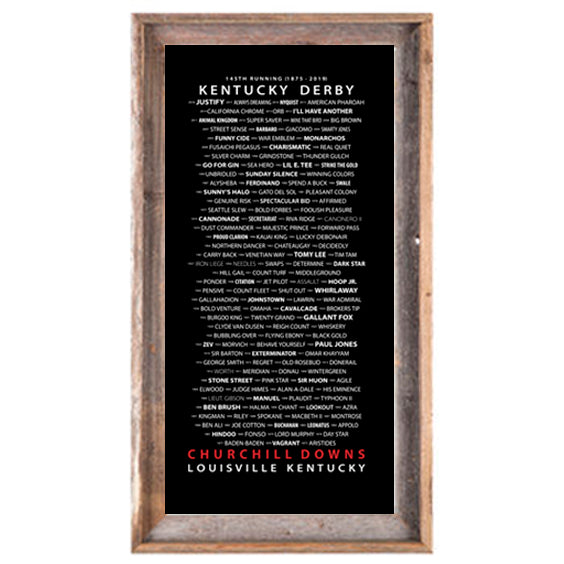 Kentucky Derby - Travers Stakes - Belmont Stakes  Saratoga Springs - Saratoga Race Track barnwood framed print